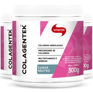 Kit 3 Colágeno Hidrolisado Colagentek Neutro 300g - Vitafor
