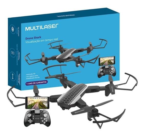 Drone Câmera Hd Wifi Fpv Shark Alcance 80mt Multilaser Es177