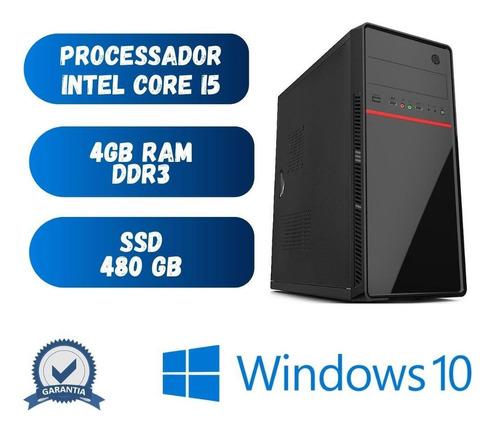 Imagem 1 de 2 de Pc Home Office Core I5 4gb Ram Ssd 480 Windows 10 + Frete !!