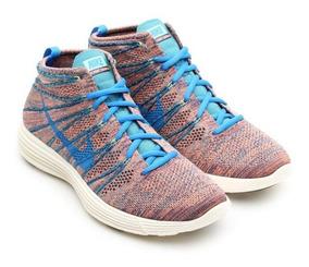 Tenis Nike Flyknit Lunar Chukka Pink Blue 41 Casual Raro