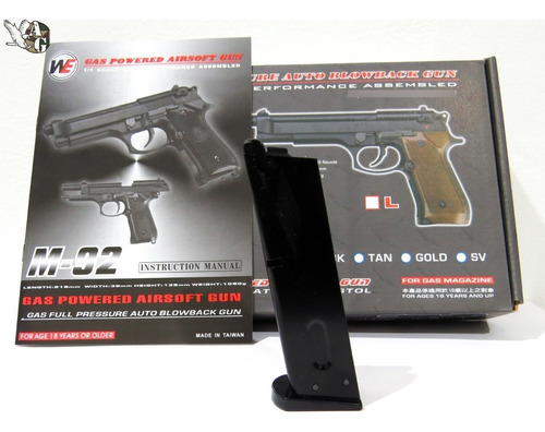 Imagen 1 de 2 de Cargador Pistola Airsoft M92 Negro Full Metal We