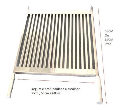 Grelha Em Inox Uruguaia Parrilha Para Churrasco 60cm Largura
