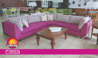 Sofa Esquinero 280x280 Tres Modulos Lino Y Chenile Estampado
