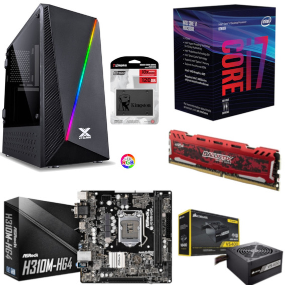 Pc Pyxis Intel I7 8700 H310m Hg4 Bl 8gb Vs400 Ssd 120gb