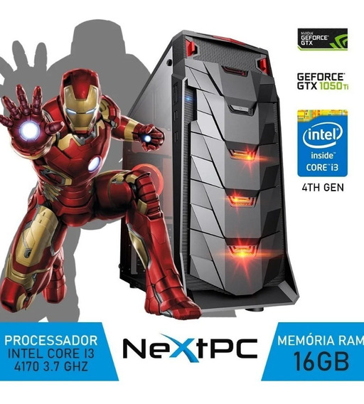 Pc Gamer Intel I3 4ºg 3.7 Ghz 16gb Gtx1050ti Gb Ssd240 Gb