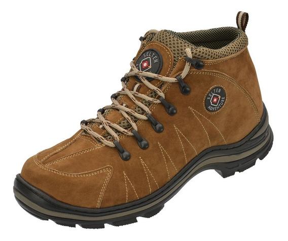 Bota Masculina Trilha Caminhada Couro Costurada Ref:3010