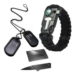 Kit Militar Pulseira Paracord + Dog Tag + Cartão Canivete