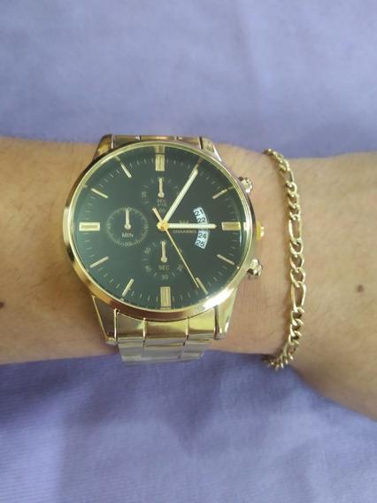 Relógio Masculino De Pulso Shaarms Gold