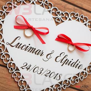 Placa Porta Alianças Noivos, Casamento Mdf Branco