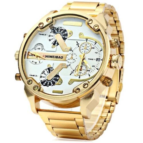 Relógio Masculino Shiweibao Dourado Ouro Importado Aço Inox