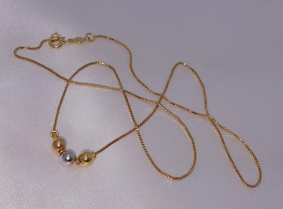 Corrente Feminina Gargantilha Ouro 18k 750 Bolinhas De Ouro