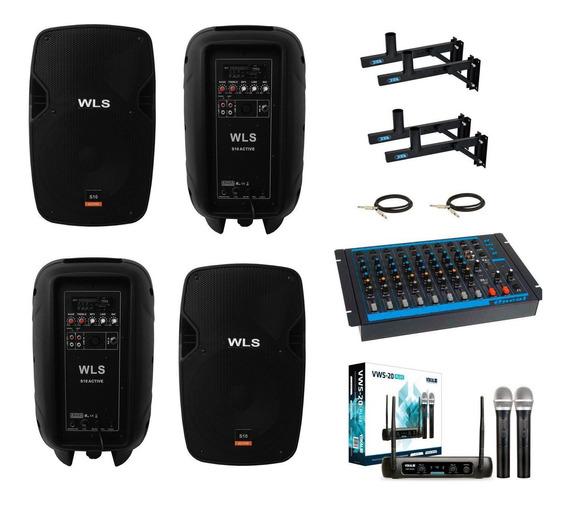 Kit 4 Caixa Ativa Passiva Wls S10 Mesa Omx8 Microfone Vws20