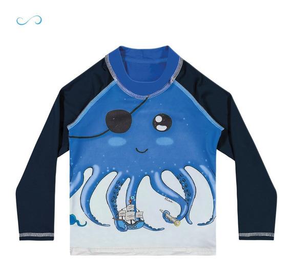 Camisa Com Proteção Solar Uv 50+ Menino Menina Praia - Elian