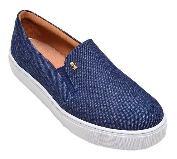 Tênis Slip On Feminino Santa Lolla Jeans Azul - 01ac