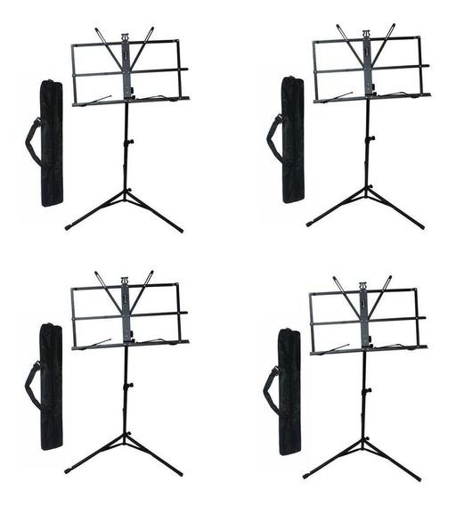Estante Partitura Pedestal Suporte Concert Ms10 - Kit Com 4