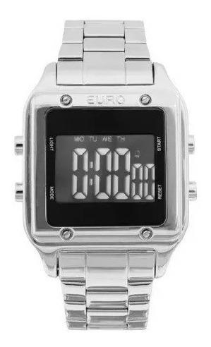 Relógio Euro Feminino Prata Quadrado Eug2510ab/3p Original