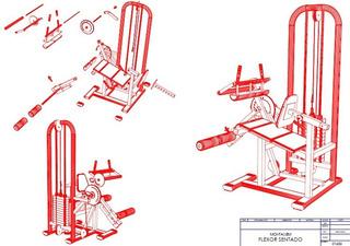 Projeto Flexora Sentado Maquina Musculação Detalhado
