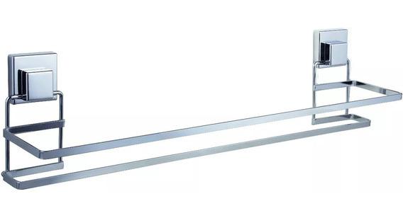 Suporte De Ventosa Porta Toalha Toalheiro Duplo 60cm Cromado