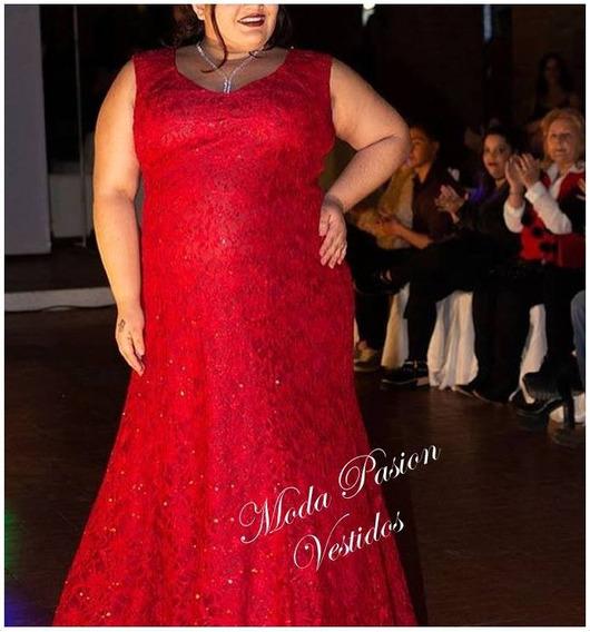 Vestido Fiesta Largo Encaje Evace Calce Perfecto Talles Especiales Grande Gorditas Hasta 7xl Colores Moda Pasion