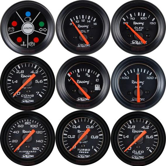 Instrumento Manômetro Willtec Led Medidor Relógio Automotivo
