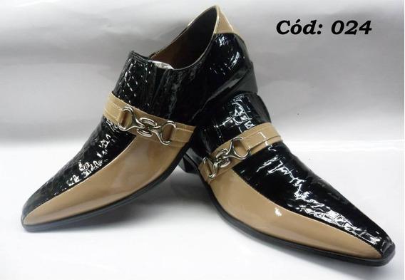 Sapato Masculino Em Couro Preto Verniz E Bege Cod:24