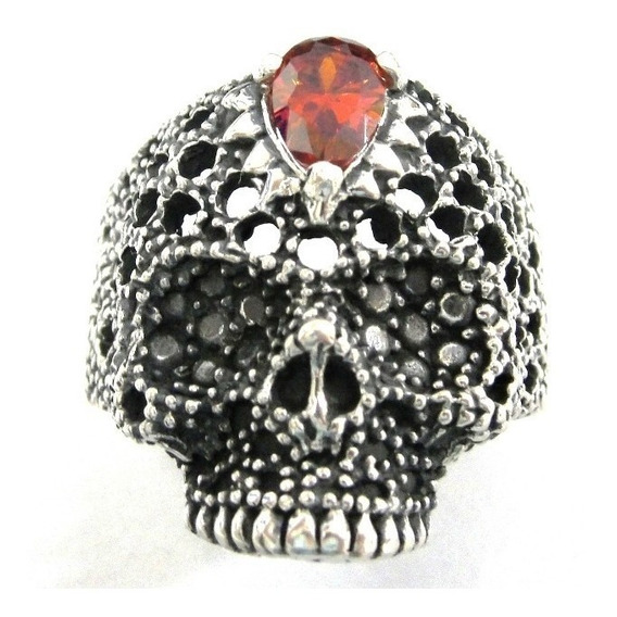 Anel Prata De Lei 950 Cranio Skull Caveira Com Pedra Rubi