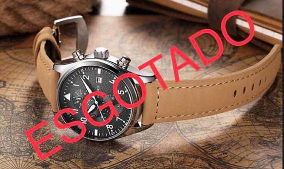Relógio Masculino Ochstin Pulseira De Couro Brinde Caixa