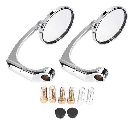 2 Pçs/set Motocicleta L-bar & R-bar Retrô Espelho Retrovisor