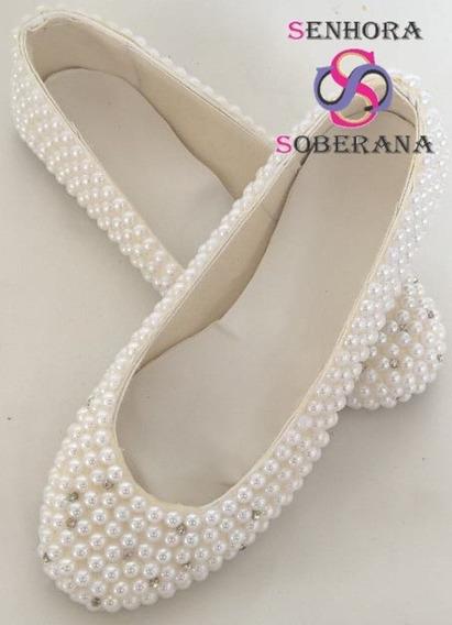 Sapatilha Marfim Em Perolas M (noivas)(debutante)(festa)