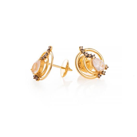 Brinco De Ouro 18k Circulo Duplo Quartzo Rosa Com Diamantes