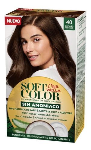 Tintura Wella Sin Amoniaco Kit Soft Color 40 Castaño Mediano