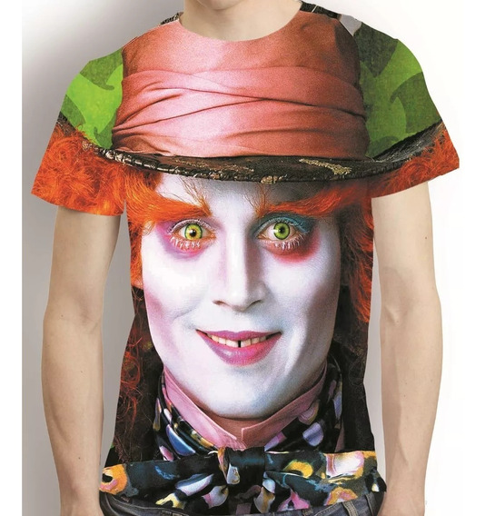 Camisa Johnny Depp Camiseta Chapeleiro Maluco Estampa Total