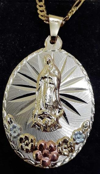 Medalla Virgen De Guadalupe Y Cadena De 55cms Chapa De Oro