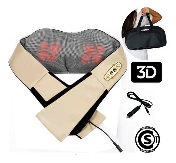 Masajeador Caliber + Bolso + Cuello Lumbar Calor 8 Rodillos