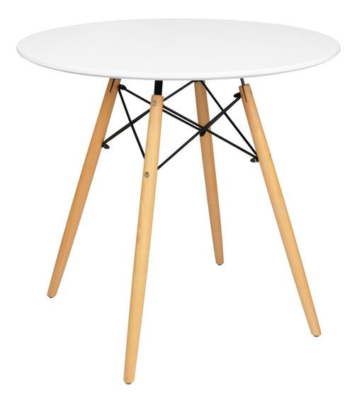 Mesa Circular Minimalista Eames Desayunador Moderno 80 Cm