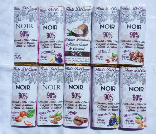 Combo X10 Tabletas De Chocolate 90% - Edicion Especial Fruto