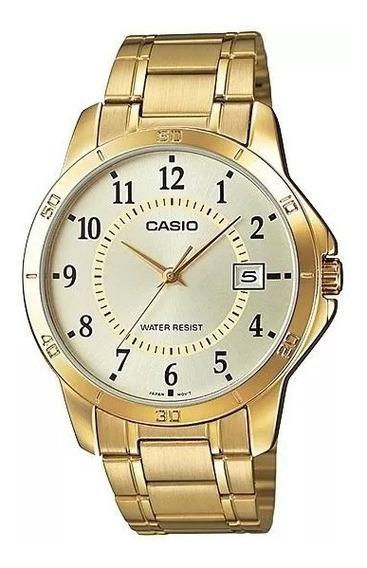 Relógio Casio Masculino Dourado Mtp-v004g-9budf Original
