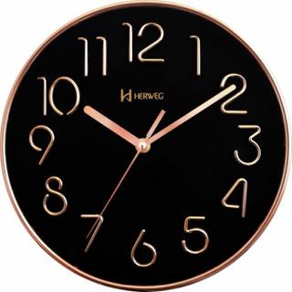 Relógio Silencioso De Parede Cor Rosê 25 Cm Preto 6480s
