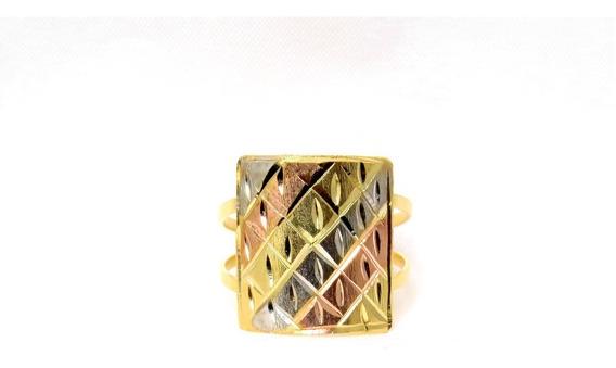 Anel Banhado A Ouro 3 Tons Diamantado