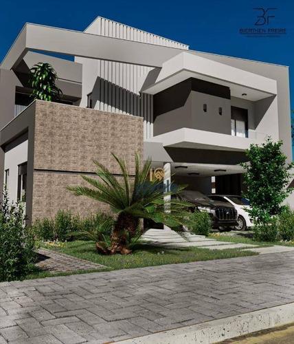 Linda Casa Em Construção De Frente Para Praça À Venda Com 5 Dormitórios - Condomínio Alphaville Ii - Sjcampos/sp - Ca1733