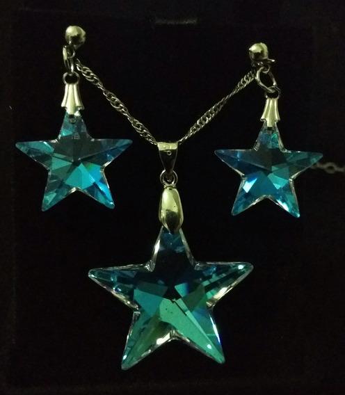 Colar E Brincos Estrela Cristal Swarovski Blue Ab