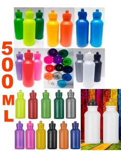 Kit 100 Squeeze Plastico 500ml Liso Sem Gravação