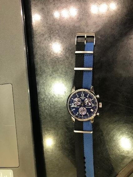 Relógio Tissot Prc 200 Fundo Azul Pulseira De Naylon Novo