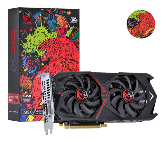 Placa De Vídeo Radeon Pcyes Rx 570 4gb Dual Fan 3 Anos