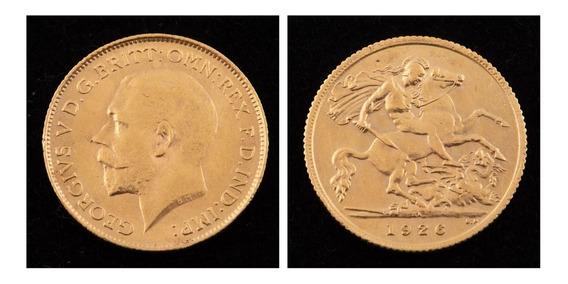 Inglaterra Moeda De Ouro 22k Meio Libra, 1926 Rei George V