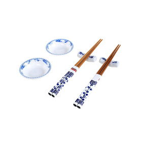 Jogo Para Comida Japonesa Hauskraft 6 Peças Branco/azul