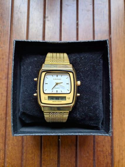 Relógio Retrô Casio Dourado Digital Masculino Feminino