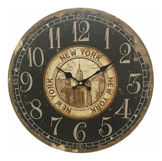 Relógio De Parede Em Madeira New York
