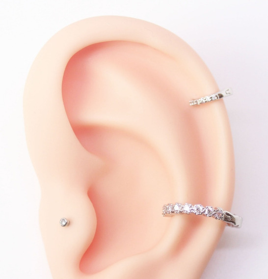 Kit 3 Piercings Fl A Ouro Br Indiano, Conch E Micro Piercing