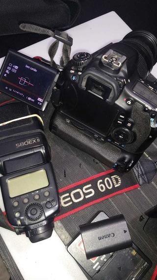 Câmera Canon 60d Lente 18-135 Usm Flash Canon 580exll